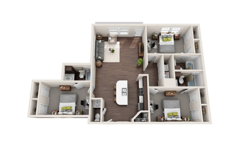 3 Bedroom Flat Floorplans The Avenue At Norman